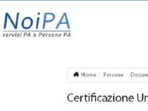 NoiPA: Certificazione unica 2019 dipendenti pubblici