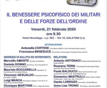 Galatina: Importante convegno sul benessere psicofisico dei militari e delle forze dell'ordine