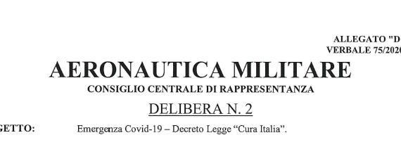 Aeronautica Militare: Emergenza Covid-19, trasmissione delibera Co.Ce.R. Sezione Aeronautica