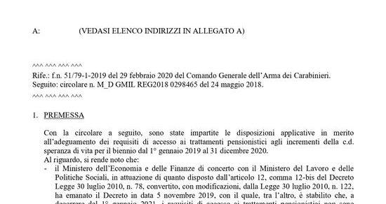 Ministero della Difesa: Cessazioni dal servizio permanente. Adeguamento agli incrementi della speranza di vita dei requisiti di accesso al pensionamento del personale militare per il biennio 2021 – 2022