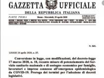 """Conversione """"Cura Italia"""": Breve sintesi delle principali innovazioni apportate dalla Legge 24 aprile 2020 n. 27"""