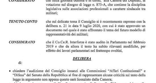 Stato Maggiore Difesa: Delibera – Disegno di legge n. 875-A sull'associazionismo professionale a carattere sindacale tra militari