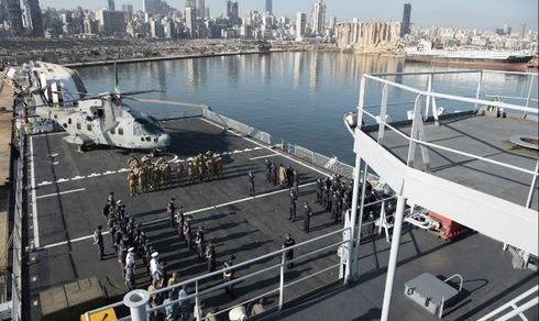 "Missione umanitaria interforze ""Emergenza Cedri"": Nave San Giusto rientra da Beirut"