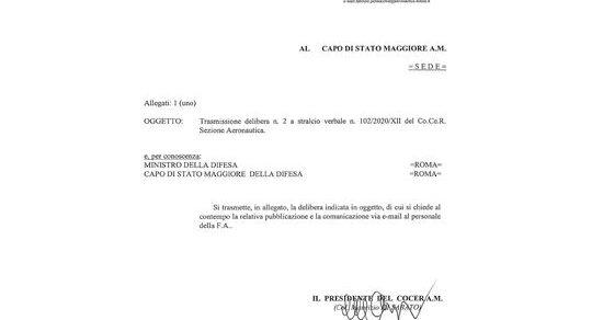 Aeronautica Militare: Trasmissione delibera n. 2 a stralcio verbale n. 102/2020/XII del Co.Ce.R. Sezione Aeronautica