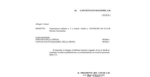 Aeronautica Militare: Trasmissione delibera n. 3 a stralcio verbale n. 102/2020/XII del Co.Ce.R. Sezione Aeronautica