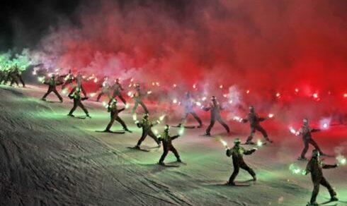 Mondiali sci di Cortina 2021: Il saluto degli uomini e donne delle Truppe Alpine dell'Esercito Italiano